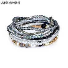 Multilayer Seed Beads Bracelets & Bangles Strand Stretchy Bangle for Women Friendship Bracelet Elastic Jewelry