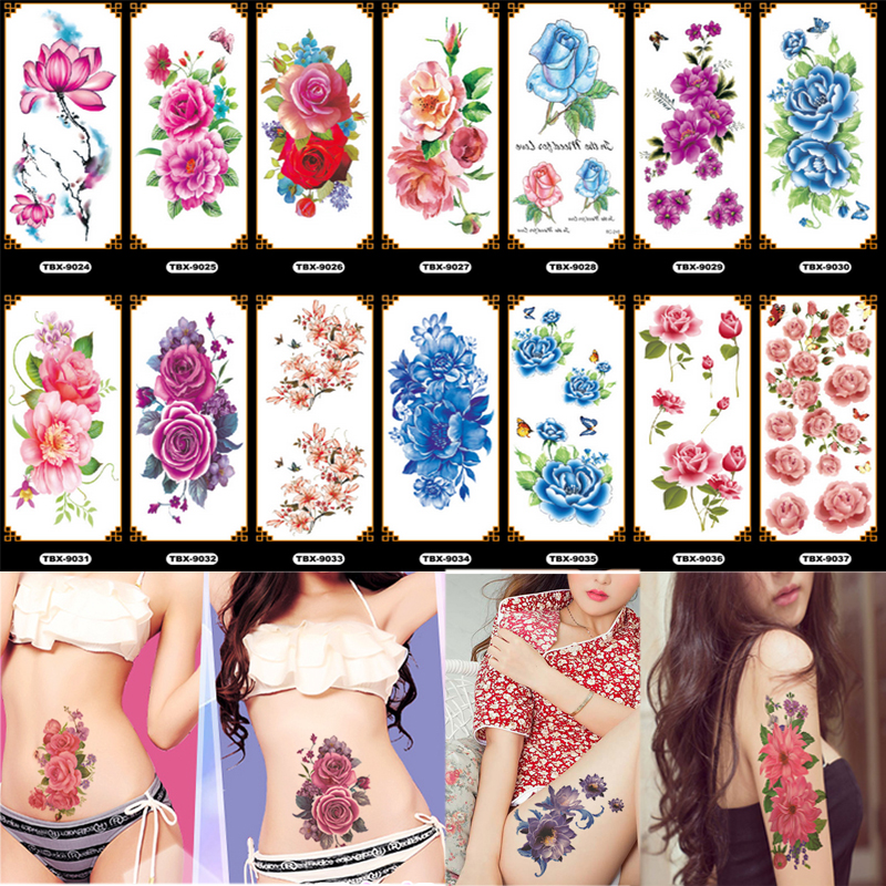 New 36 Sheets 3D Waterproof Temporary Flowers Tattoos For Women Girl Body Art Sleeve DIY Stickers Glitter Tattoo Beauty Exotic