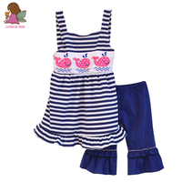Factory Selling Girls Boutique Clothing Set Striped Strappy Dress And Ruffle Pants Lovely Animal Decorated Summer