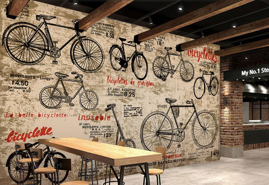 Kustom Anak Wallpaper Vintage Sepeda 3D Retro Toko Dinding Lukisan Untuk Ruang Tamu Sofa