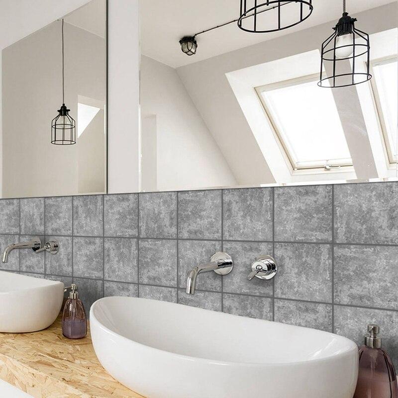 10 Pcs/Set Waterproof PVC DIY Wall Tiles Stickers Cement tile Wall ...