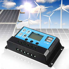130-260W 4Stage PWM 12V/24V 10/20/30A Solar Controller Dual USB LCD Display Solar Panel Charge Regulator Built In Timer Control