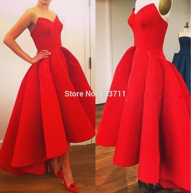 1741287cc Designer Arabic Sweetheart High Low Red Matte Satin Prom Dresses Red Ball Gowns  High Fashion Evening dresses cheap plus F204