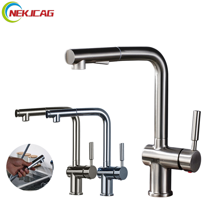 Pull Out Kitchen Faucet 360 Degree Rotation Faucet Single Handle Mixer Tap with Sprayer levett caesar prostate massager for 360 degree rotation g spot