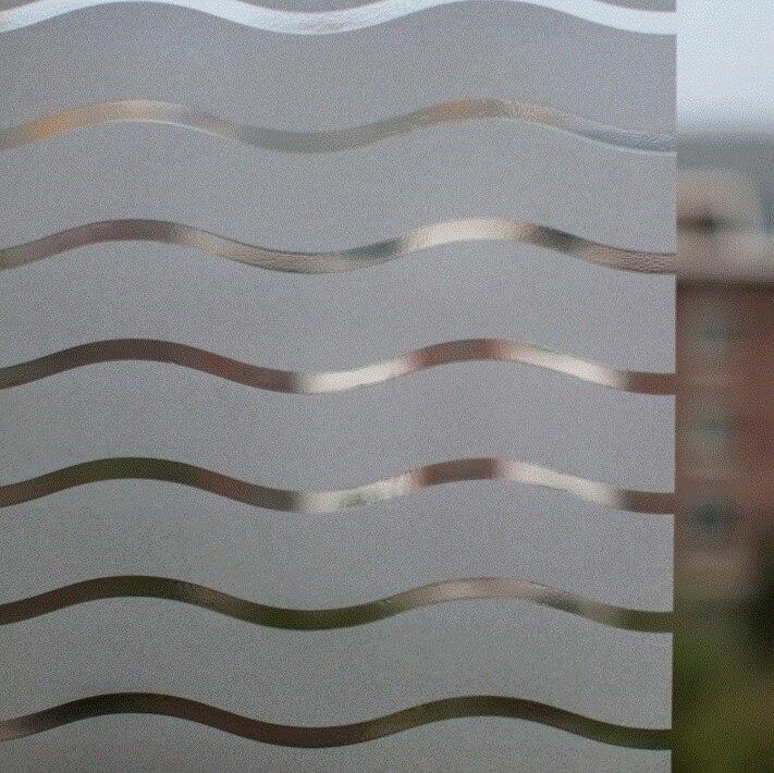 Non-adhesive Window Film Long-lasting Quick DIY 45 x 200 cm Easily Remove Office Door Glass Decoration White Winding Stripe