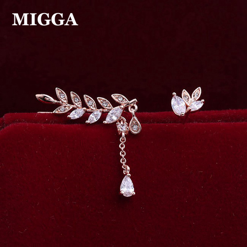 MIGGA Asymmetric CZ Zircon Crystal Leaf Stud Earrings for Women Girls Party Gift Jewelry Rose Gold Color