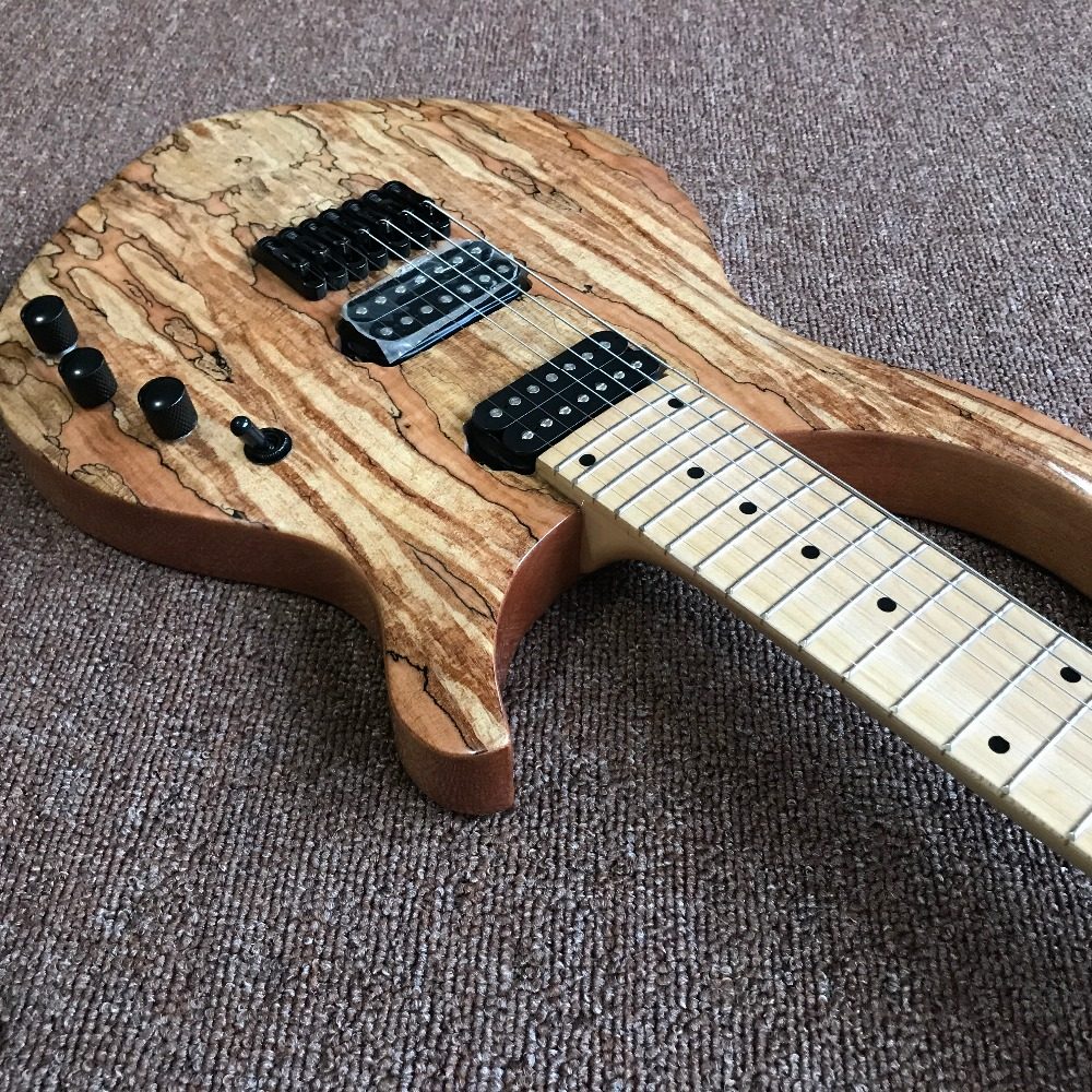 new arrival high quality Custom 7 strings Electric Guitar, Natural color, Spalted Maple Top,Real photo showing vicers 2016 new arrival custom shop tl electric guitar with flamed maple high quality wholesale