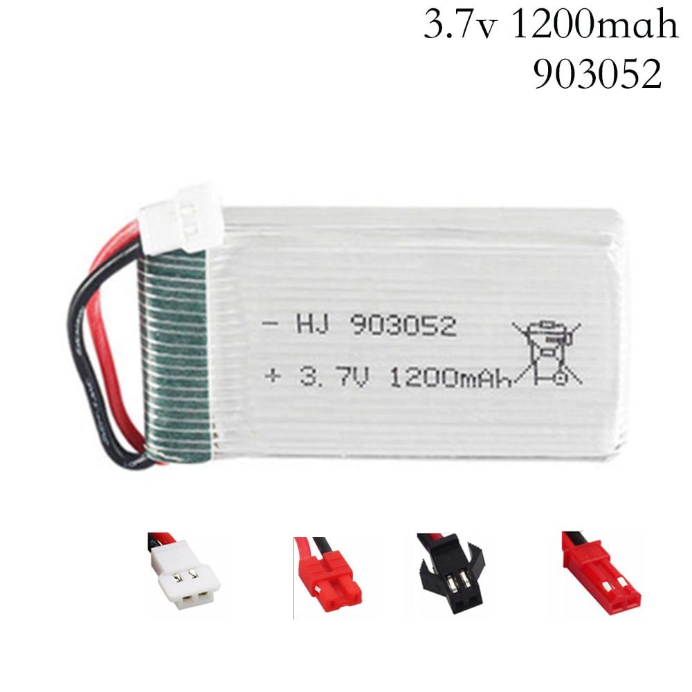 3.7V 1200mAh Lipo Bateria para Syma 30C X5SW X5SC X5S X5SC-1 X5HW X5UW M18 H5P RC Quadcopter 3.7V 1200mAh 903052 bateria Plugue JST