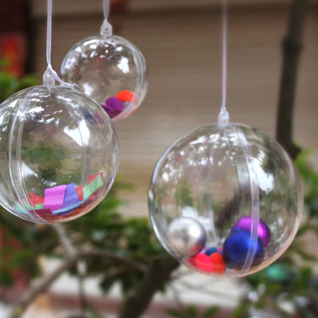 4 8cm Clear Hanging Ball Baubles Round Bauble Ornament Xmas Tree