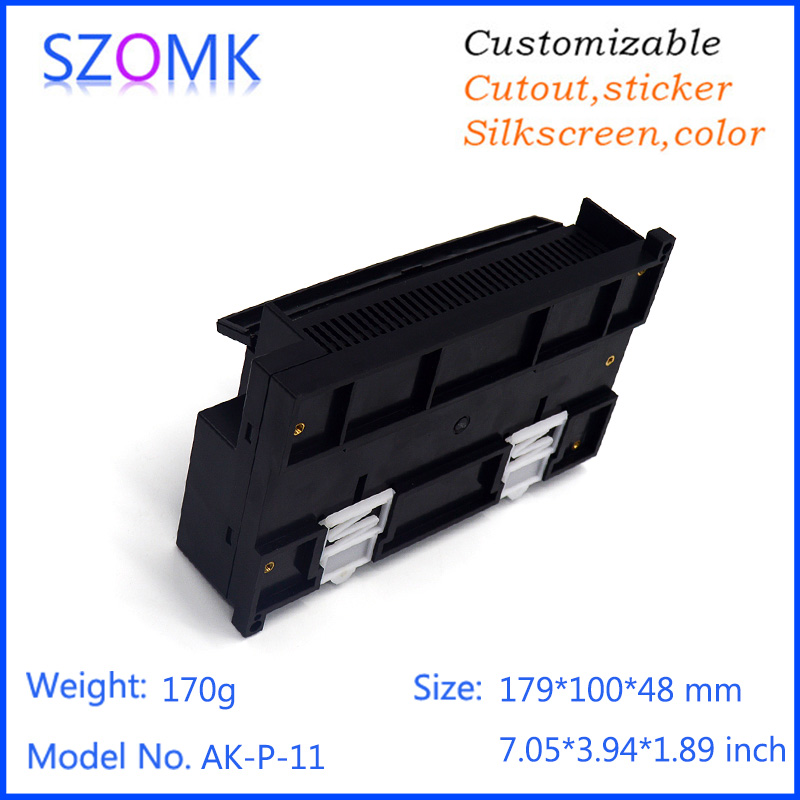 2 piece plastic housing project enclosure din rail box 179*100*48mm diy electronic shell case abs control enclosure 1 piece free shipping szomk diy wall mount plastic box abs card reader enclosure screen case lcd case rfid