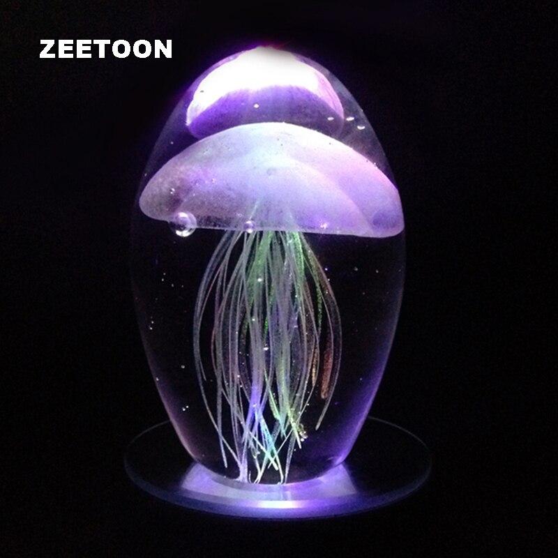 Art fait à la main couleur glaçure méduse lumineuse avec support LED coloré bureau verre ornement créatif anniversaire cadeau de noël