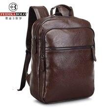 Hombres mochilas mochila para portátil de negocios masculino de cuero couro masculina motocicleta back pack mochila escolar mochila de viaje 2016