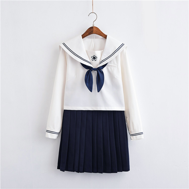 2019 new japanese school uniforms sailor tops+bow+skirt navy style students clothes for girl lala cheerleader clothing plus