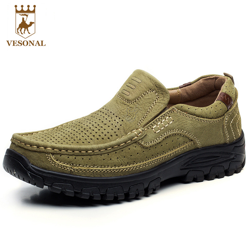 VESONAL Hot Sale Spring Autumn Genuine Leather Brand Casual Male Shoes Men Adult Walking Quality Comfortable Soft Man Footwear male casual shoes soft footwear classic men working shoes flats good quality outdoor walking shoes aa20135