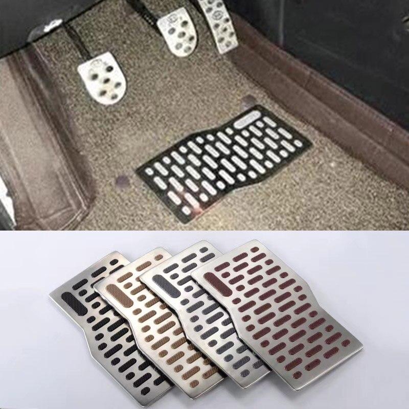 Adesivi Per Auto Tappetini Moquette Alluminio Auto Pad Pedale Piastra Piede Resto Tappetino Per Jeep Wrangler Grand Cherokee Wrangler Renegade Jk Luminoso A Colori