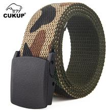 CUKUP 2018 Brand Unisex No Metal Buckle Belt Camouflage Double-sided Military Canvas Women Belts Waistband Leisure Waist CBCK106