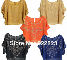 New women Tailor-made Perspective Round Neck Sequined vest dress womens sexy Tops shirts for Free Shipping