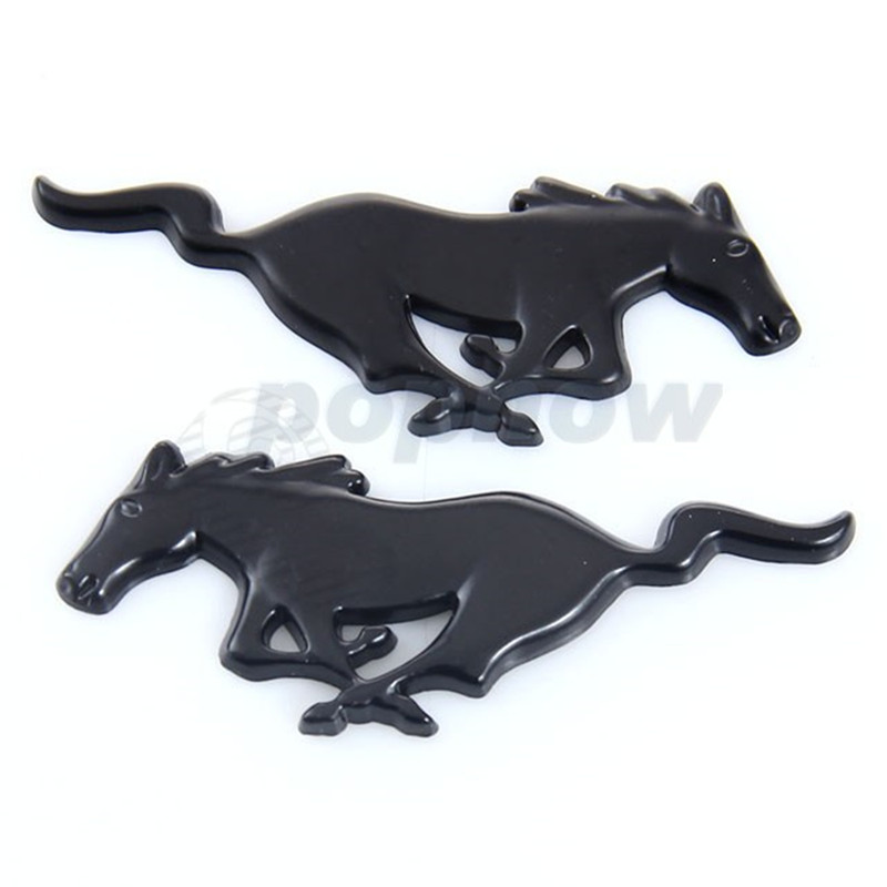 pair car styling black alloy mustang horse emblem badge auto truck body front rear decal sticker - Ford Mustang Logo Images