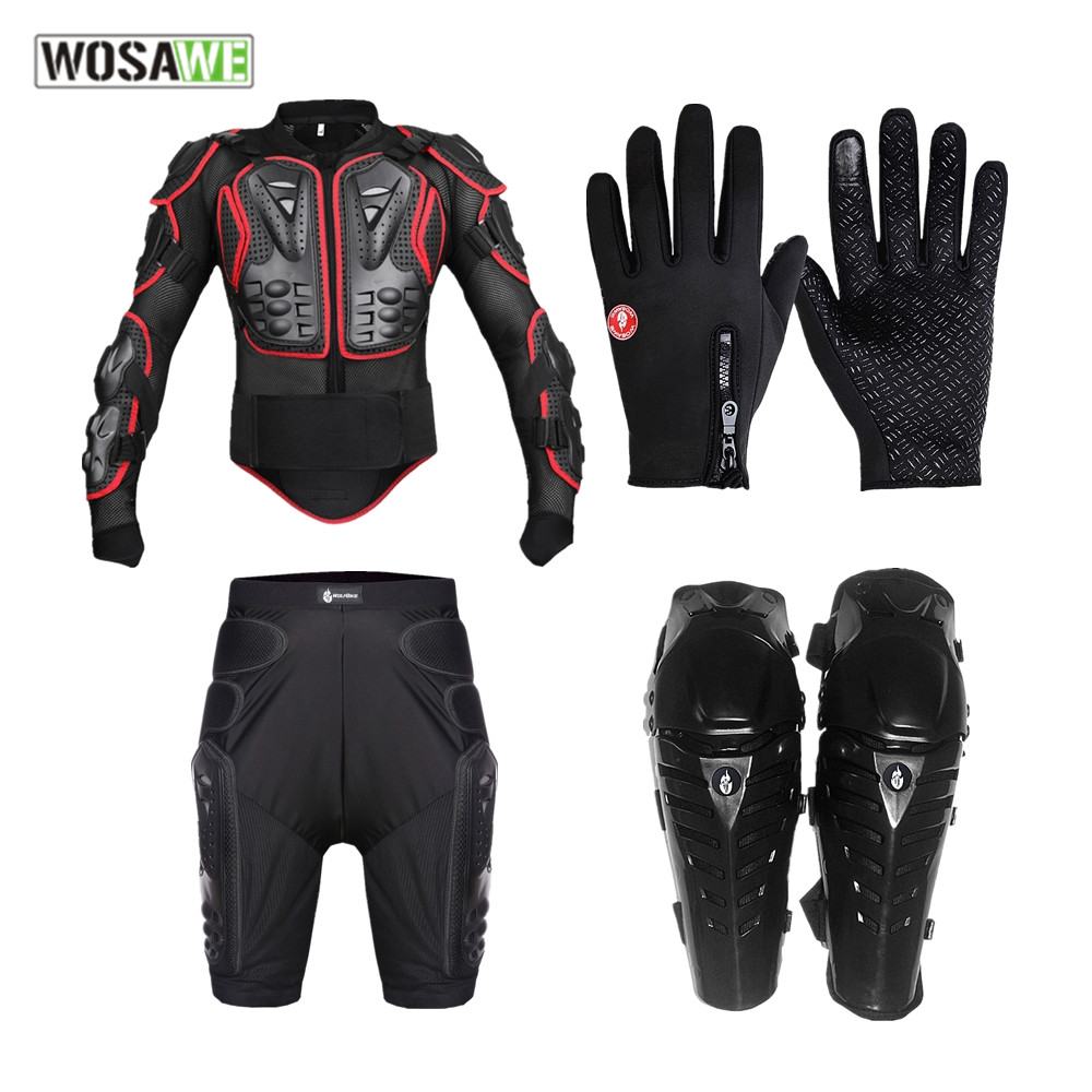 WOSAWE shockproof EVA Motorcycle jackets set motocross Body Armor back support gloves Short Pants Knee Pad motorcycle armor catalog vstavki icon d3o armor pass pants single html