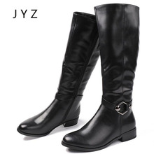 Fashion New Womens Boots Winter Long Keep Warm Flat Shoes Buckled Up Lady Size 40 aa1028
