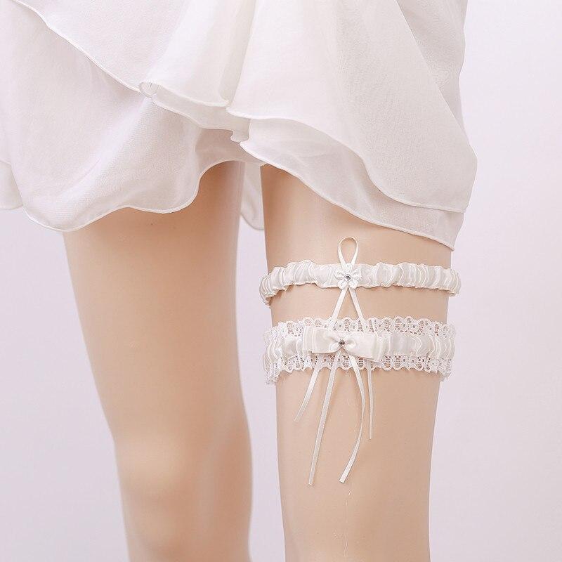 Garters Underwear & Sleepwears Garter White Embroidery Flower Beading Rhinestone Female Wedding Garters For Bride Rubber Lace Band Bridal Leg Garters Wg009