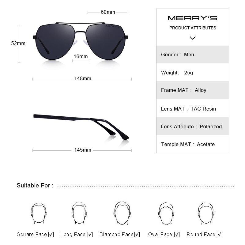 MERRYS DESIGN Men Classic Pilot Sunglasses Aviation Frame HD Polarized Sunglasses For Mens Driving UV400 Protection S8175