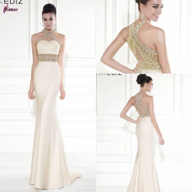 Sexy Tall Women Mermaid Trumpet Long Prom Dress High Neck Beaded ...