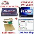 Fichas ilimitadas! KESS V2 OBD2 Gerente Sintonía Kit FW V4.036 V2.30 + SW V2.13 V6.070 KTAG K-TAG ECU Herramienta de Programación + BDM marco