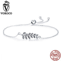 VOROCO 100 Real 925 Sterling Silver Adjustable Chain Bracelet For Wemen Dancing Leaves Clear Zircon Bangle