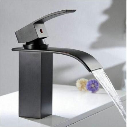 Free Shipping Bathroom Waterfall Basin Faucets Deck Mounted Black Square Bathroom Sink faucet basin faucet Mixer basin tap стоимость