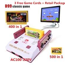 D99 Игровые Консоли Классический Семейный ТВ видео игры консоли плеер с бесплатным 400 В 1 + 500 В 1 игры карты