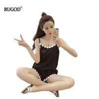 RUGOD Summer 2017 Fashion Pajamas Two Set Soild Black And Red Spaghetti Strap Shirt And Shorts