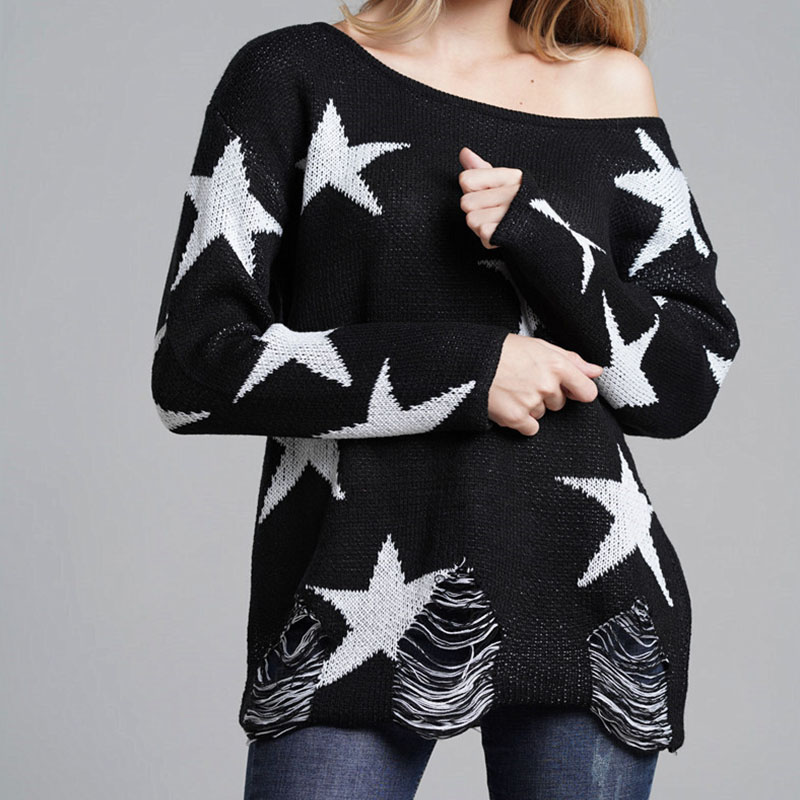 Black Women's Loose Sweater Tassel Sexy Off The Shoulder Stars Knitted Pullovers 2018 Female Korean Casual Hole Streetwear Coat