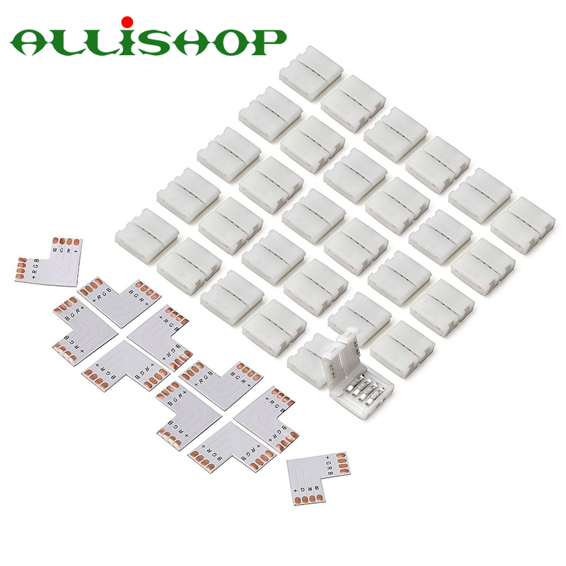 AlliSHOP 10 Pcs L Shape 4pin 10mm LED Strip Light Connector For 5050/3528 SMD RGB Quick Splitter Right Angle Corner Connectors
