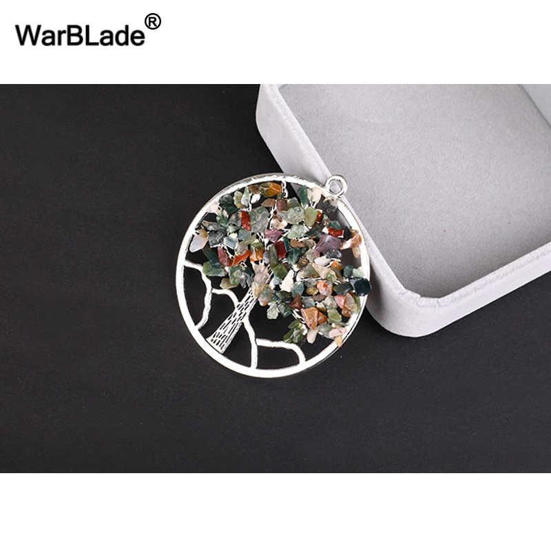 WarBLade 13 สีสายรุ้ง 7 Chakra Tree Of Life จี้สร้อยคอหินธรรมชาติคริสตัล Wisdom Life Tree สร้อยคอผู้หญิงของขวัญ