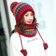 2pcs/set 2019 Brand Real Big Fur Pom Poms Ball Knitted Cap Hats Scarf Hat Set Winter Women Beanie Thick Female