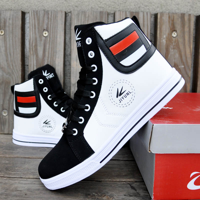 0108b0809c75de Mens Trainers High Tops Shoes For Men Casual Shoes Leather Boots Lace Up  USA Street Style Men Skate Board Shoes Chaussure Homme-in Men s Vulcanize  Shoes ...