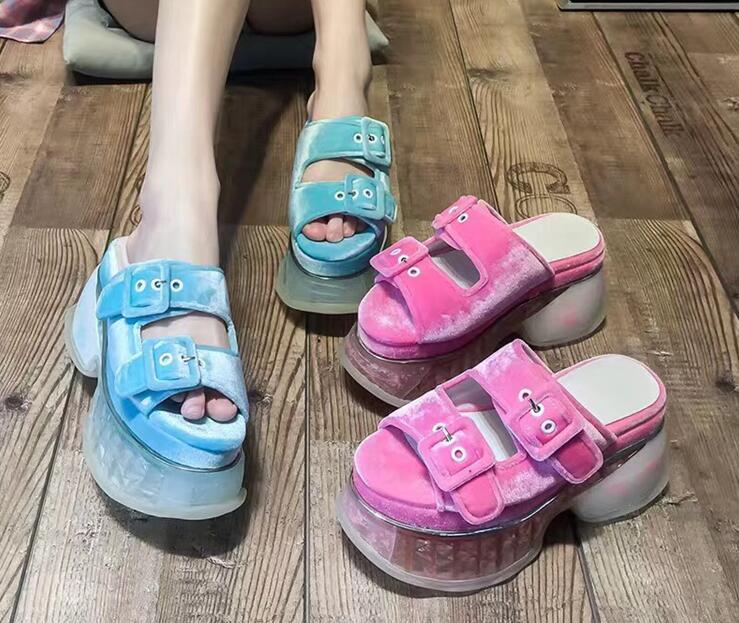 새로운 패션 여성 플랫폼 슬리퍼 블링 샌들 신발 웨지 발 뒤꿈치 들여다 발가락 샌들 숙녀 할로우 플립 플롭 여성 외부-에서여성용 샌들부터 신발 의  그룹 1
