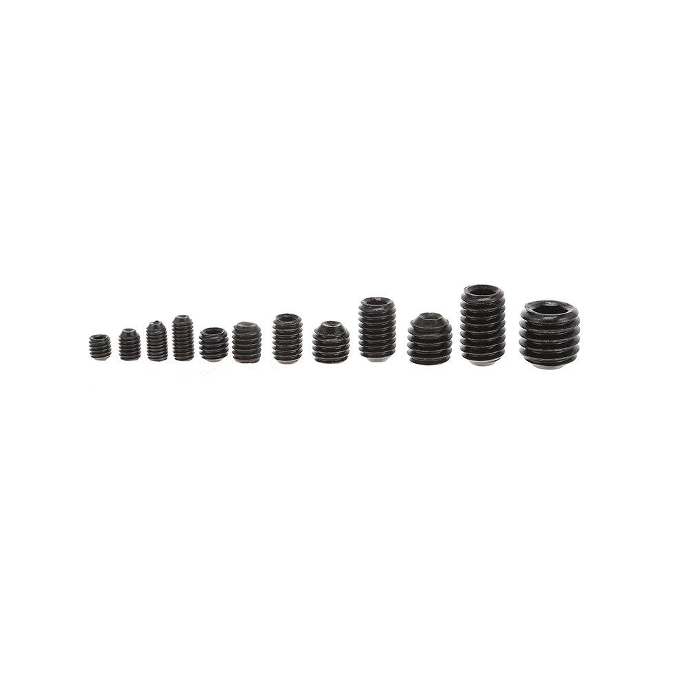 240pcs Black Allen Head Socket Hex Grub Screw Set Assortment Kit (M1/2/3/4/5/6/8/9/10/11/11) thgs 240pcs grub screw cup point hex head socket set m3x3 m3x4 m3x5 m4x4 m4x5 m4x6 m5x5 m5x8 m6x6 m6x10 m8x8 hex key wrench st
