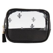 Women Creative Transparent PU Cactus Cosmetic Bag with Zipper Square Pillow Makeup