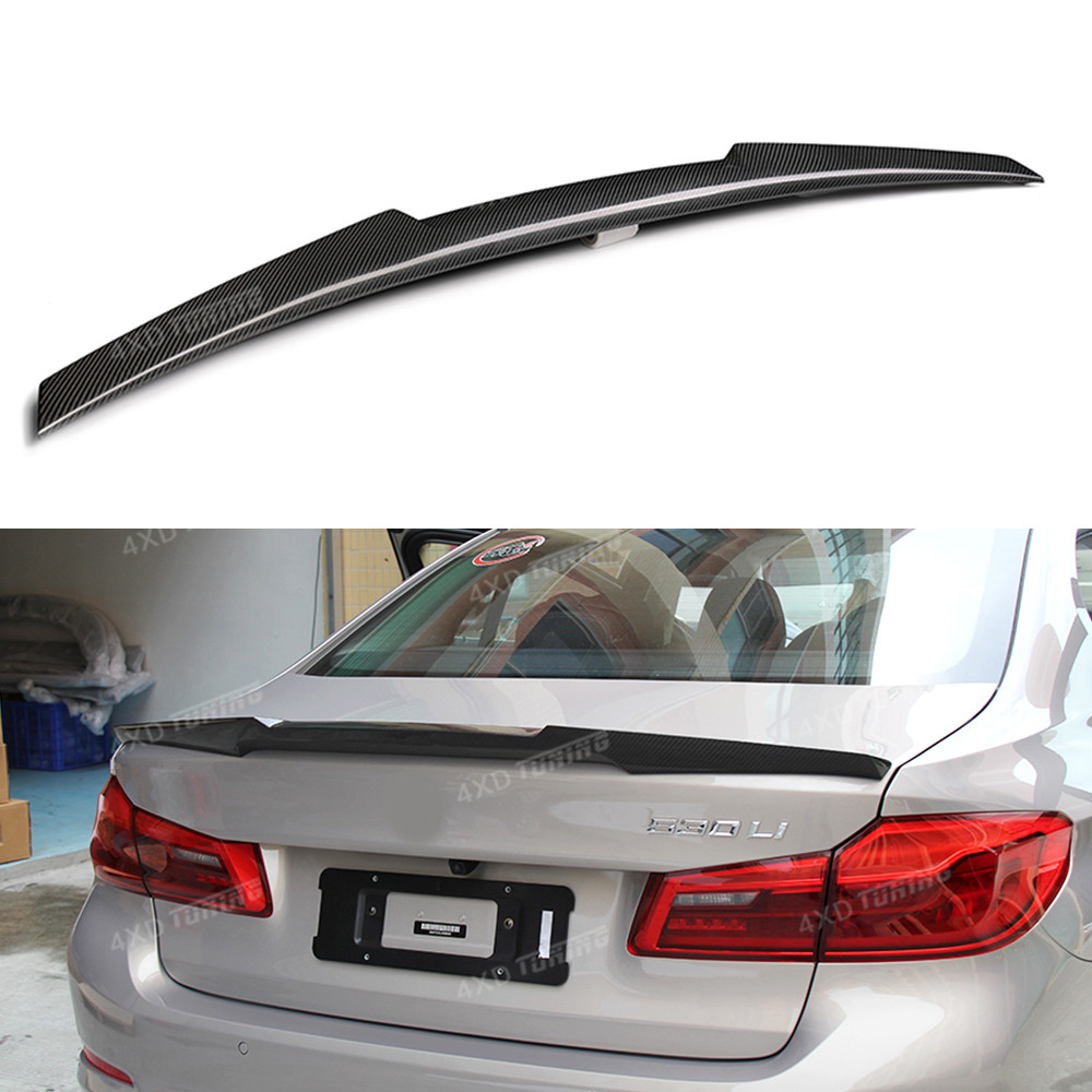 For BMW G30 Carbon Spoiler M4 Style 5 Series G30 530i 540i& M5 F90 Carbon Fiber Rear Spoiler Rear Trunk Wing Car styling 2017-UP m4 style e93 carbon fiber rear wing spoiler for bmw e93 convertible 3 series 2005 2011 racing car styling tail trunk lip wing