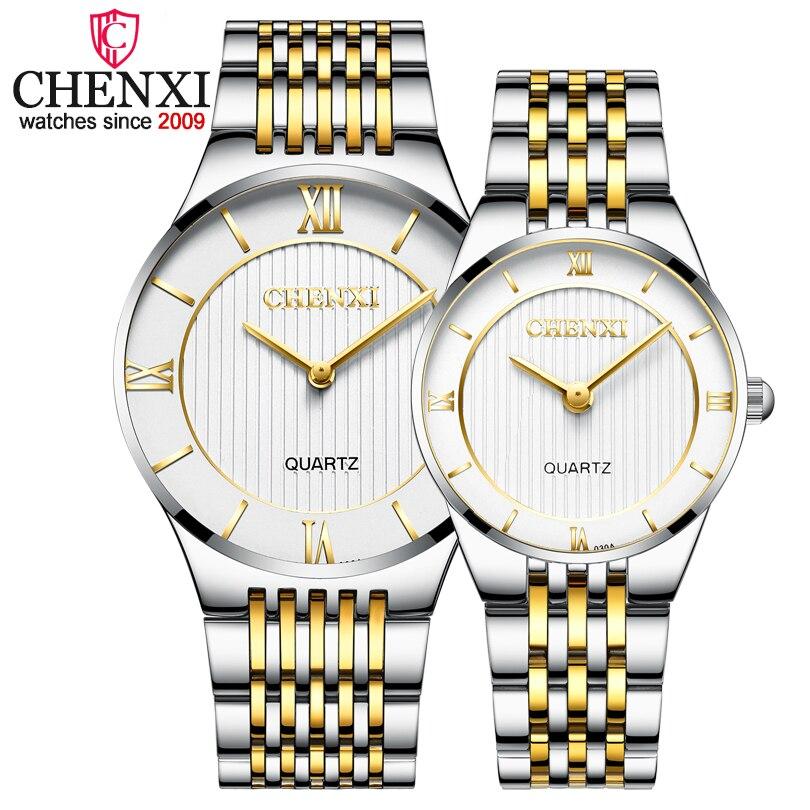 CHENXI Femmes de Luxe Or Montre À Quartz En Acier Hommes de Mode Horloge Robe Cadeau 2018 Nouveau Relogios de Montres Amant masculino