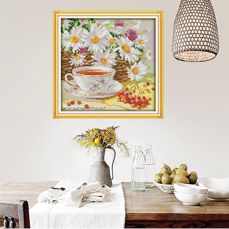 Joy Sunday,Afternoon tea,cross stitch embroidery set,printing cloth embroidery kit,needlework,DIY cross stitch embroidery kit (4)
