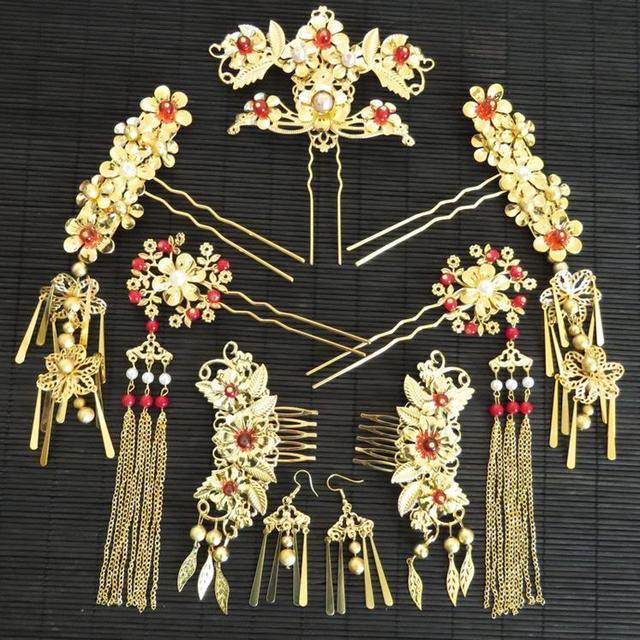 סיני מסורתי כלה תכשיטי סטי זהב צבע אדום חרוזים שיער סיכות עגילי הכלה כיסוי ראש תחפושת חתונה שיער אבזרים