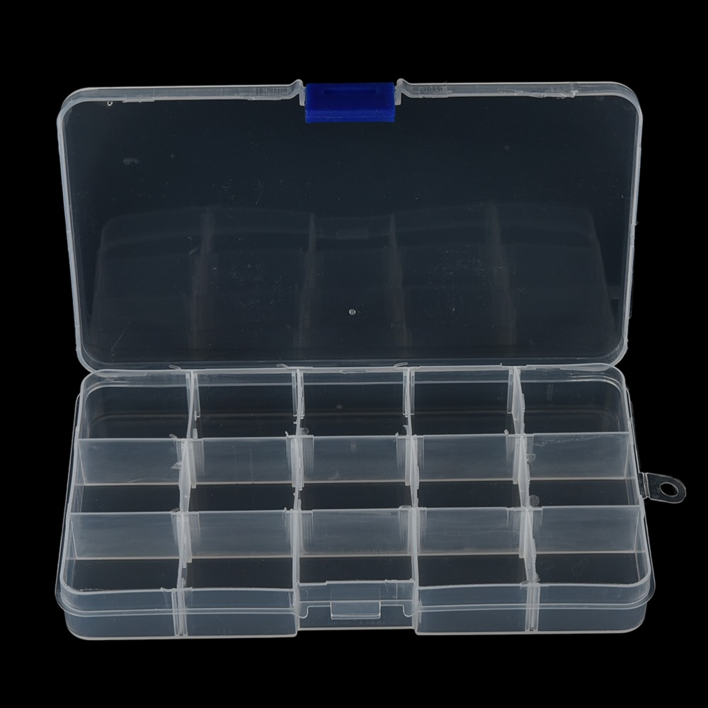 1pc Bait Boxes Plastic Clear Fishing Track Box With 15