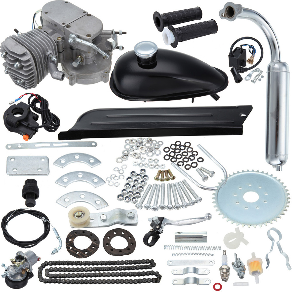 (Ship from DE) 2 Stroke 80cc Petrol Gas Bike Engine DIY Bike Bicycle Motorize Engine Motor Kit 26 or 28 dla116 inline cnc processed inline gasoline engine petrol engine 116cc for gas airplanes with double cylinders