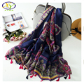 1PC 180*100CM 2016 Autumn New Design Flower Acrylic Cotton Women Long Tassels Scarf Woman New Arrival Viscose Big Size Pashminas