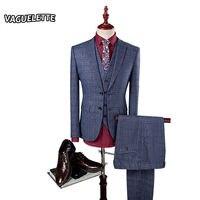 Xám Sọc Ca Rô Phù Hợp Với Nam Giới Slim Fit Vintage Chú Rể Phù Hợp Với Đám Cưới Giản Dị Bên Ăn Mặc mới nhất Áo Khoác Và Quần Thiết Kế M-4XL