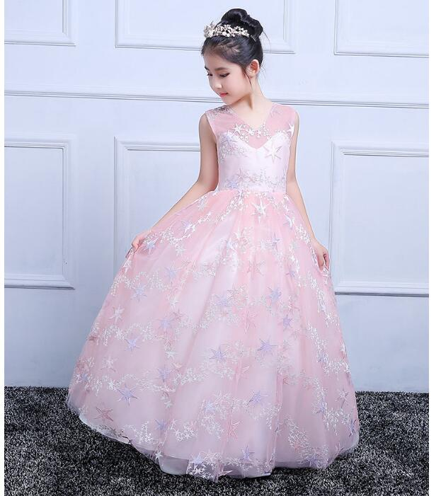 Girls Wedding Formal Dresses 2018  Printed Stars V-Neck Gauze Prom Ball Gown Flowers Girls Princess Dress Kids Long Party Dress girl s formal dress 2018 flower girls wedding dresses kids gauze sequins party ball gown children s long prom dress white 3 13y