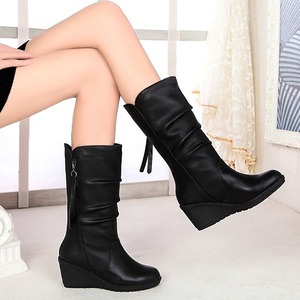 Image 5 - Women Mid Calf Boots Winter Warm Snow Boots Waterproof Pu Leather 6cm High Heel Shoes Woman Platform Wedges Ladies Creepers